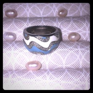 Stamped Sterling Silver and Enamel Cigar Band Ring